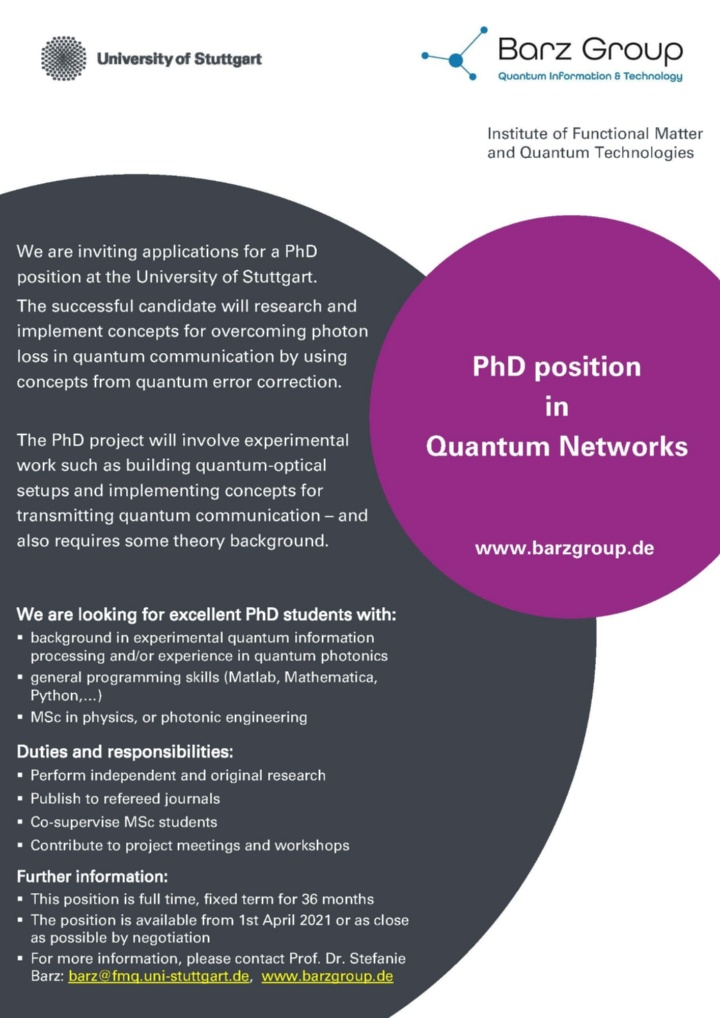 PhD position: Quantum networks