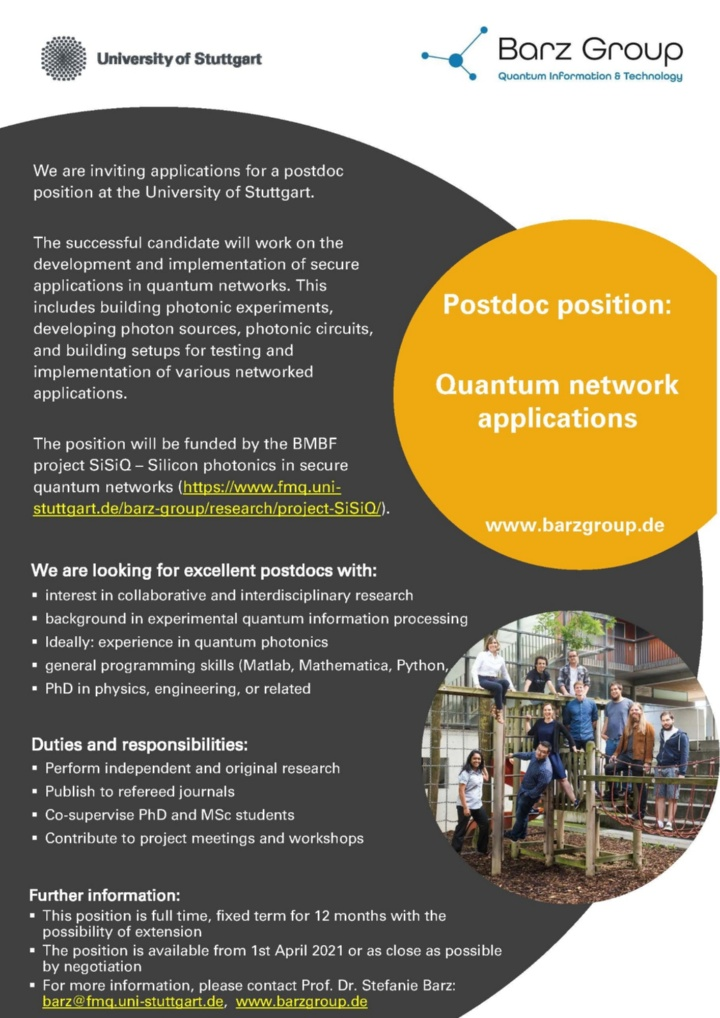 Postdoc position: Quantum network applications
